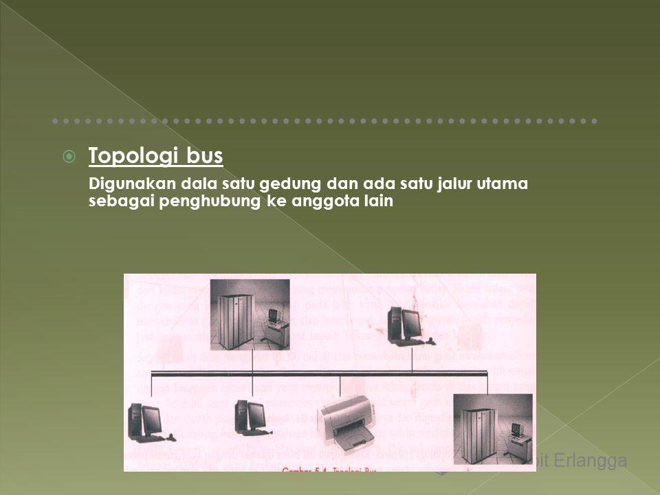 Topologi bus Digunakan dala satu gedung dan ada satu jalur utama sebagai penghubung ke anggota lain.
