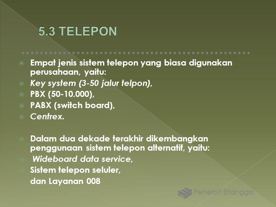 5.3 TELEPON Empat jenis sistem telepon yang biasa digunakan perusahaan, yaitu: Key system (3-50 jalur telpon),