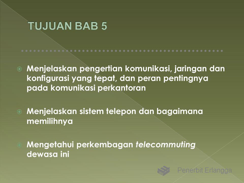 TUJUAN BAB 5 Menjelaskan pengertian komunikasi, jaringan dan konfigurasi yang tepat, dan peran pentingnya pada komunikasi perkantoran.
