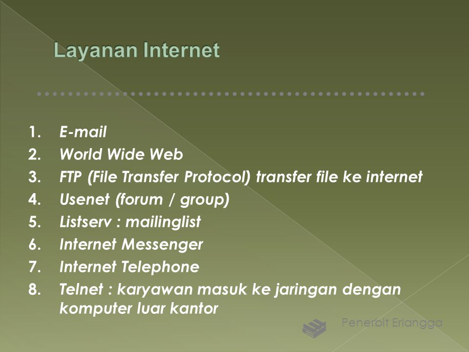 Layanan Internet 1. E-mail 2. World Wide Web