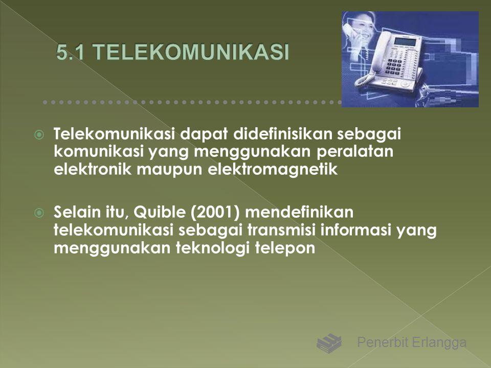 5.1 TELEKOMUNIKASI Telekomunikasi dapat didefinisikan sebagai komunikasi yang menggunakan peralatan elektronik maupun elektromagnetik.