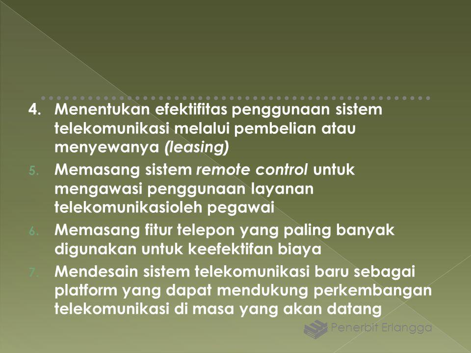 4. Menentukan efektifitas penggunaan sistem telekomunikasi melalui pembelian atau menyewanya (leasing)