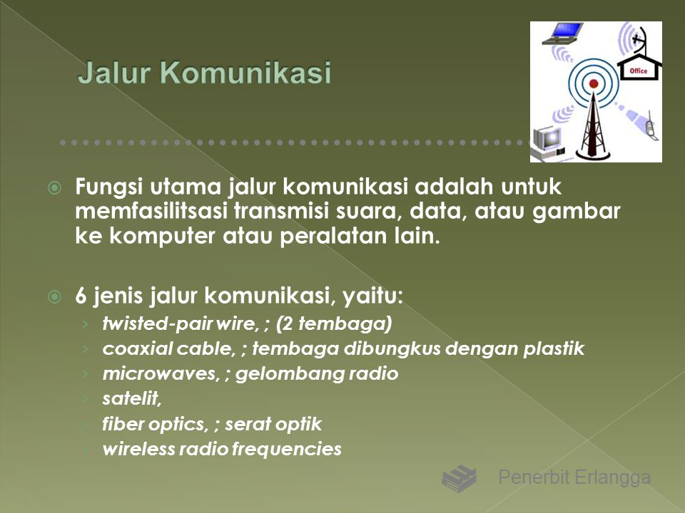 Jalur Komunikasi Fungsi utama jalur komunikasi adalah untuk memfasilitsasi transmisi suara, data, atau gambar ke komputer atau peralatan lain.