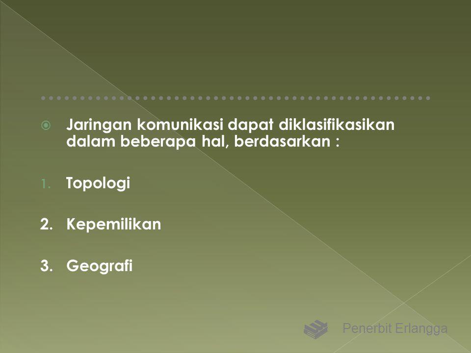 Jaringan komunikasi dapat diklasifikasikan dalam beberapa hal, berdasarkan :