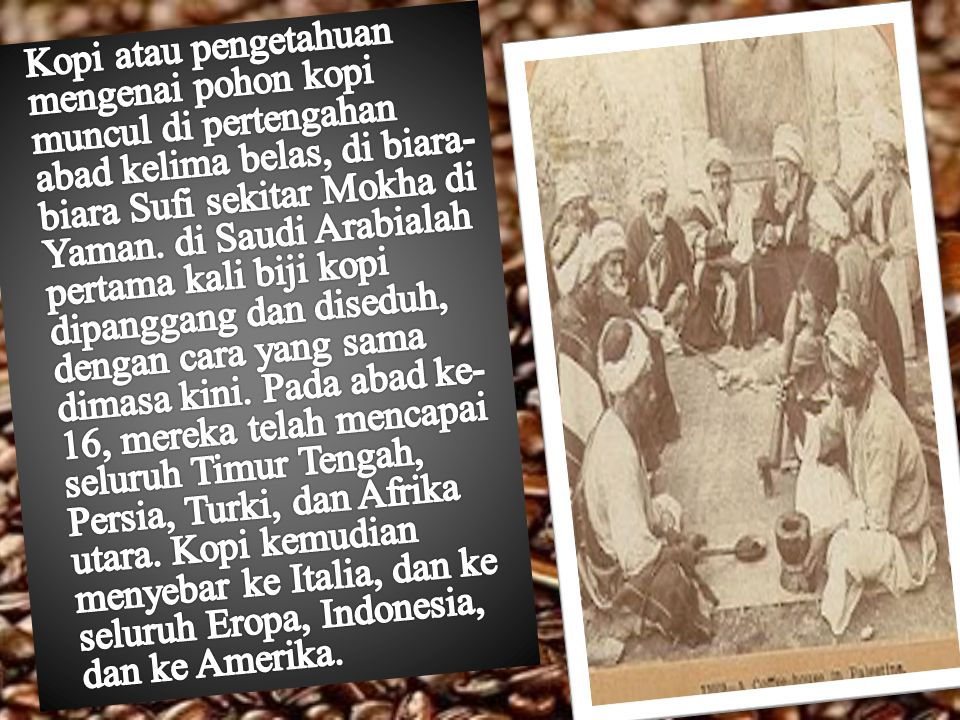 Kopi atau pengetahuan mengenai pohon kopi muncul di pertengahan abad kelima belas, di biara-biara Sufi sekitar Mokha di Yaman.