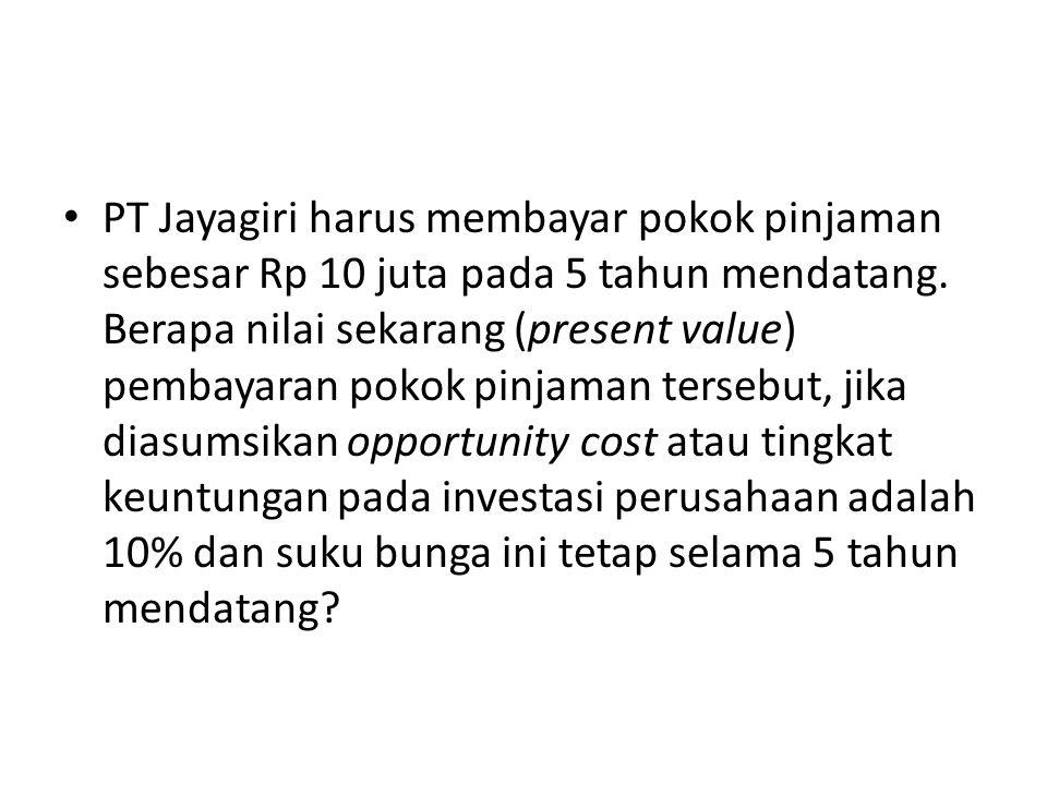 PT Jayagiri harus membayar pokok pinjaman sebesar Rp 10 juta pada 5 tahun mendatang.