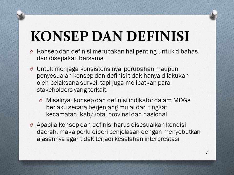 KONSEP DAN DEFINISI Konsep dan definisi merupakan hal penting untuk dibahas dan disepakati bersama.