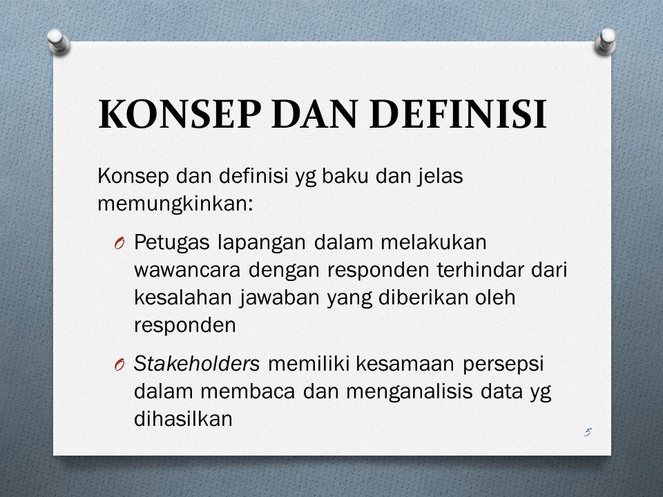 KONSEP DAN DEFINISI Konsep dan definisi yg baku dan jelas memungkinkan:
