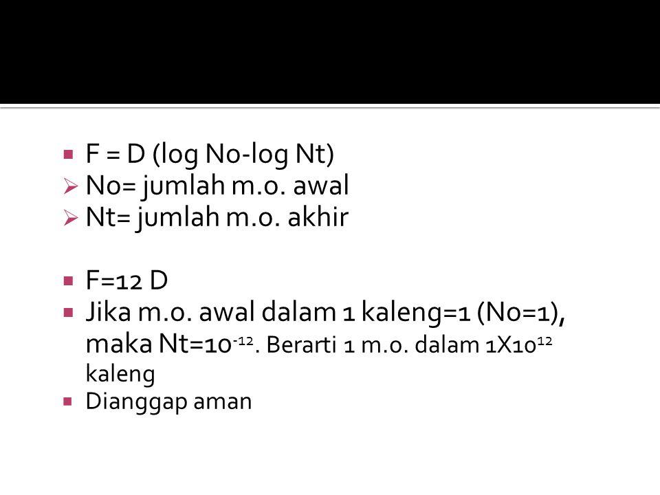 F = D (log No-log Nt) No= jumlah m.o. awal Nt= jumlah m.o. akhir