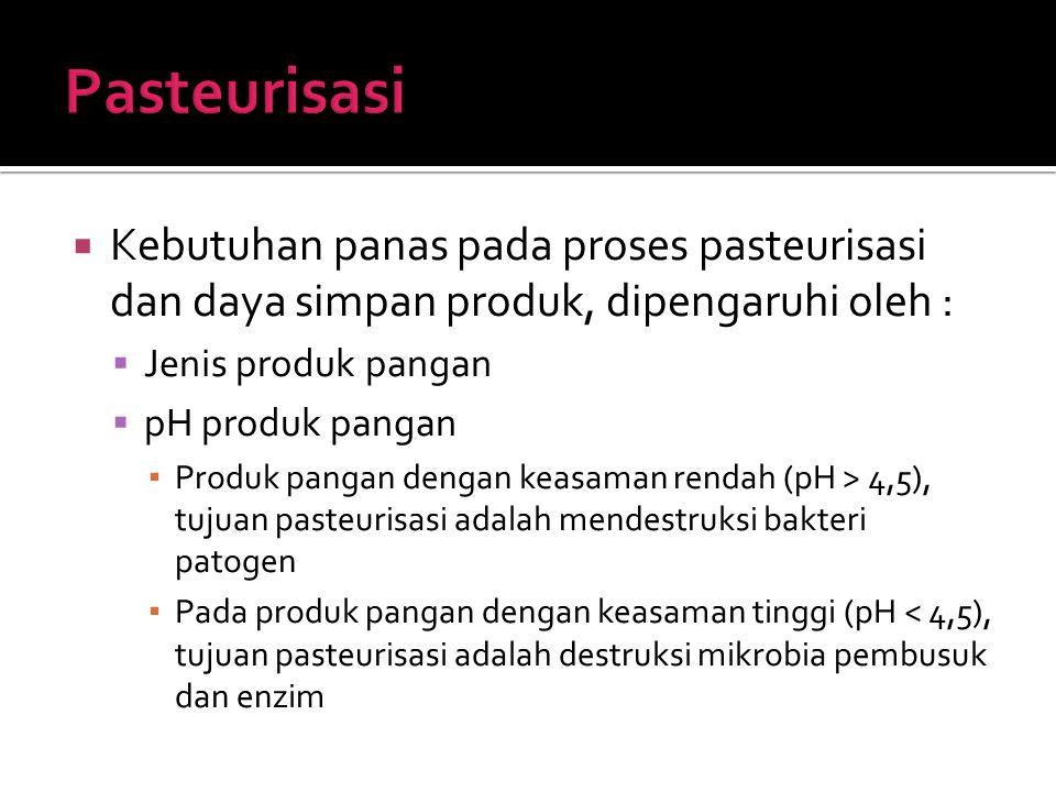 Pasteurisasi Kebutuhan panas pada proses pasteurisasi dan daya simpan produk, dipengaruhi oleh : Jenis produk pangan.