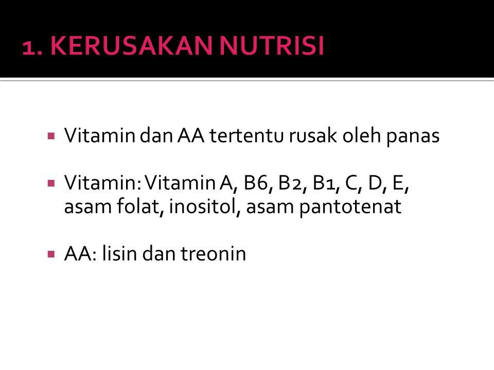 1. KERUSAKAN NUTRISI Vitamin dan AA tertentu rusak oleh panas