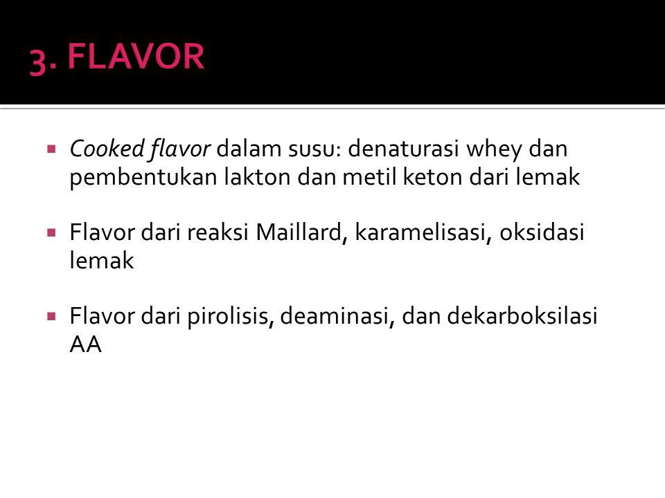 3. FLAVOR Cooked flavor dalam susu: denaturasi whey dan pembentukan lakton dan metil keton dari lemak.