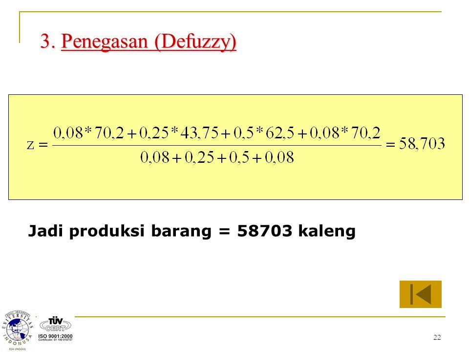 3. Penegasan (Defuzzy) Jadi produksi barang = 58703 kaleng