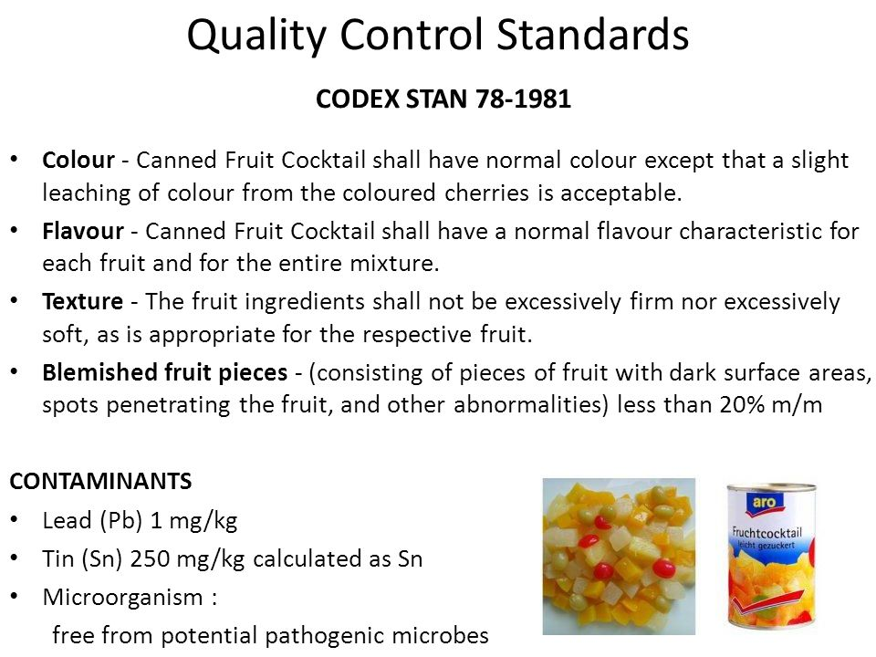 Quality Control Standards CODEX STAN 78-1981