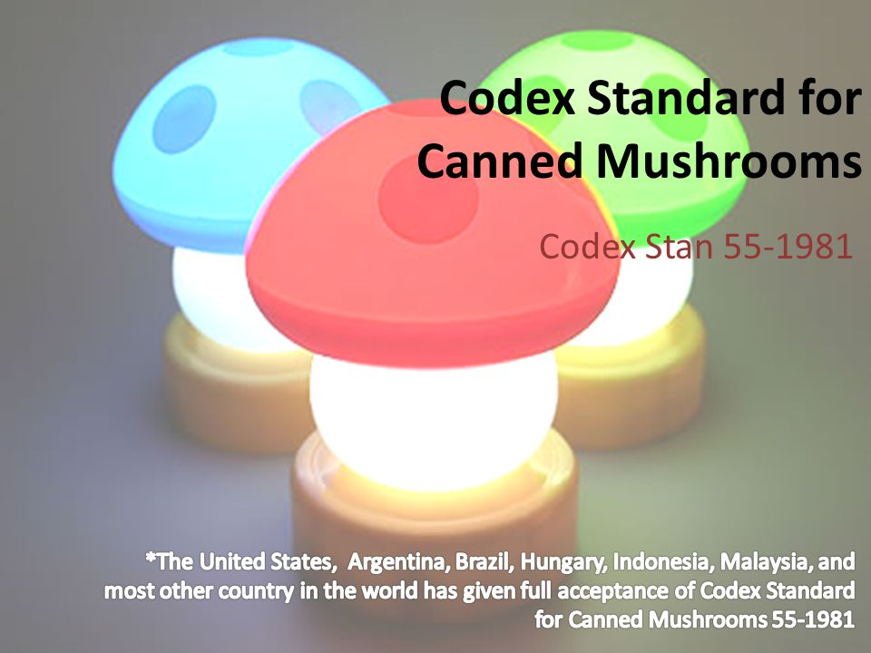 Codex Standard for Canned Mushrooms