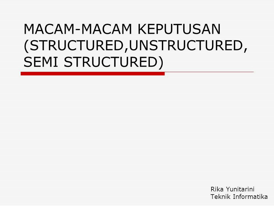 MACAM-MACAM KEPUTUSAN (STRUCTURED,UNSTRUCTURED,SEMI STRUCTURED)