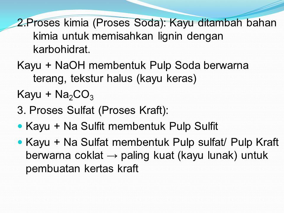 2.Proses kimia (Proses Soda): Kayu ditambah bahan kimia untuk memisahkan lignin dengan karbohidrat.