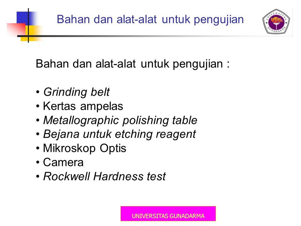 Bahan dan alat-alat untuk pengujian