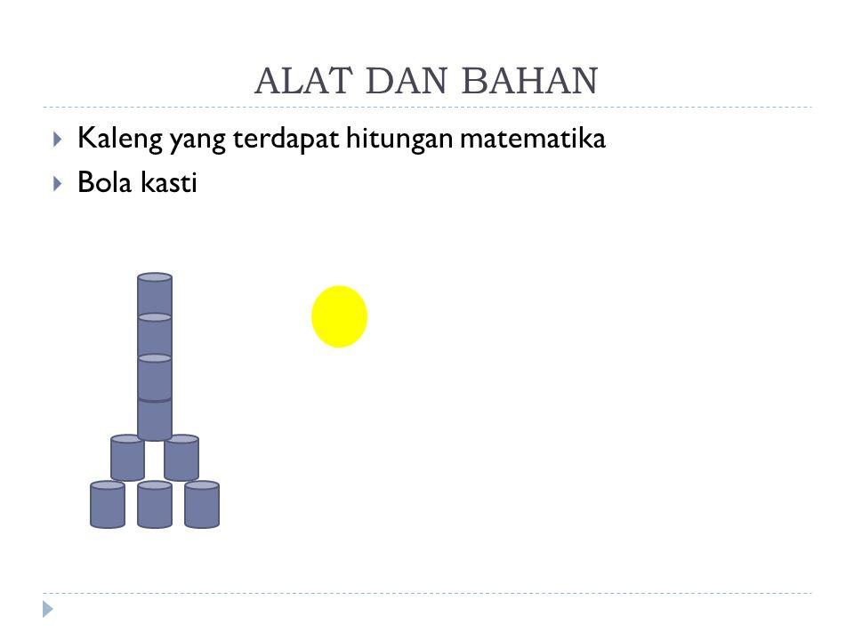 ALAT DAN BAHAN Kaleng yang terdapat hitungan matematika Bola kasti