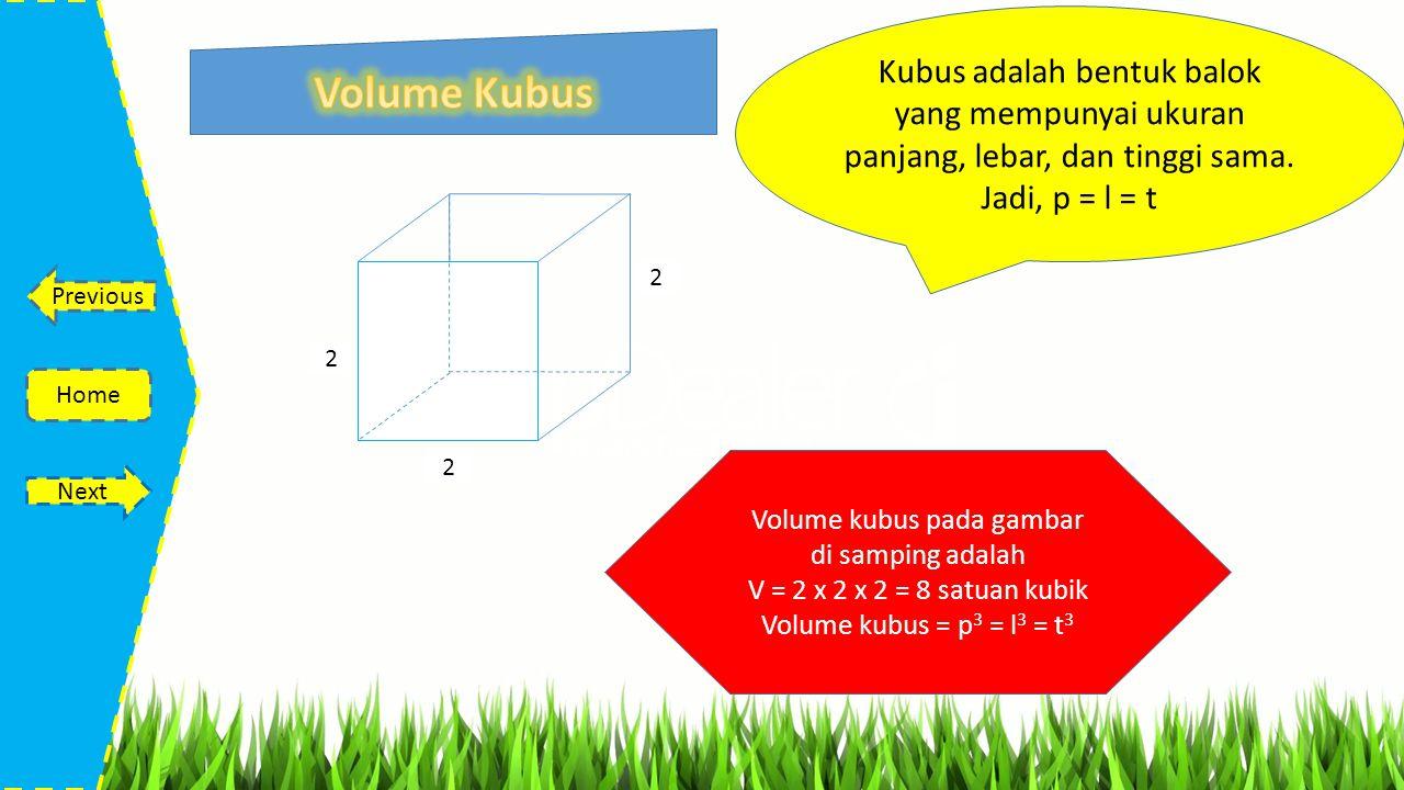 Volume kubus pada gambar di samping adalah