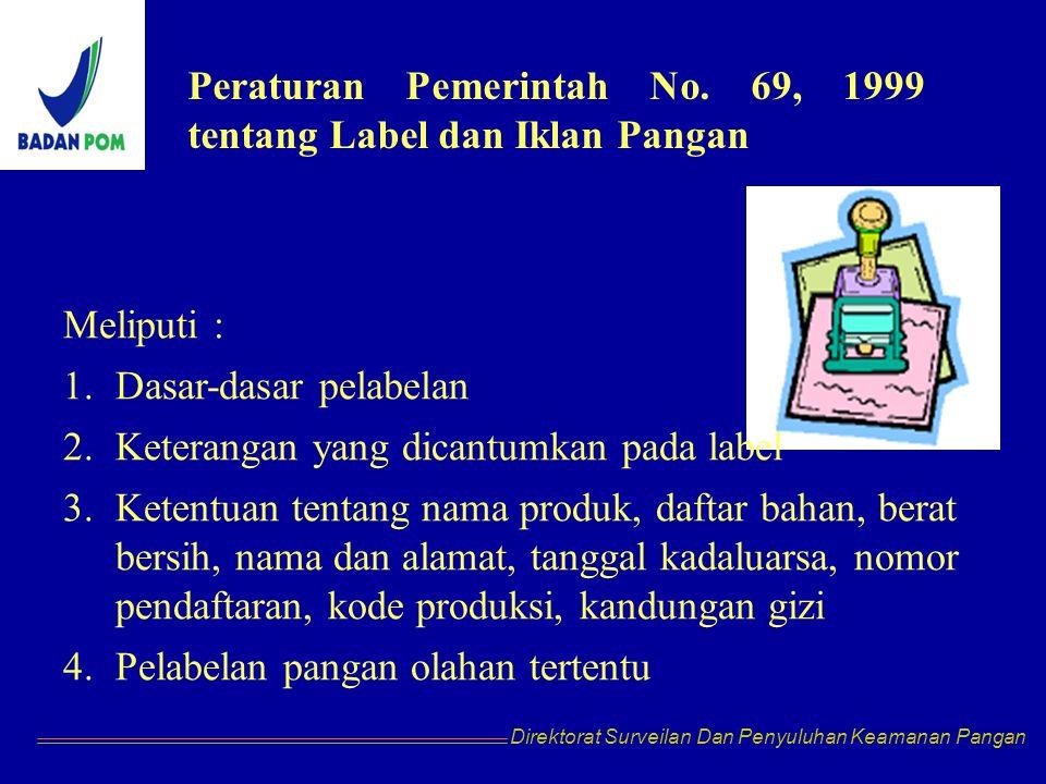 Peraturan Pemerintah No. 69, 1999 tentang Label dan Iklan Pangan
