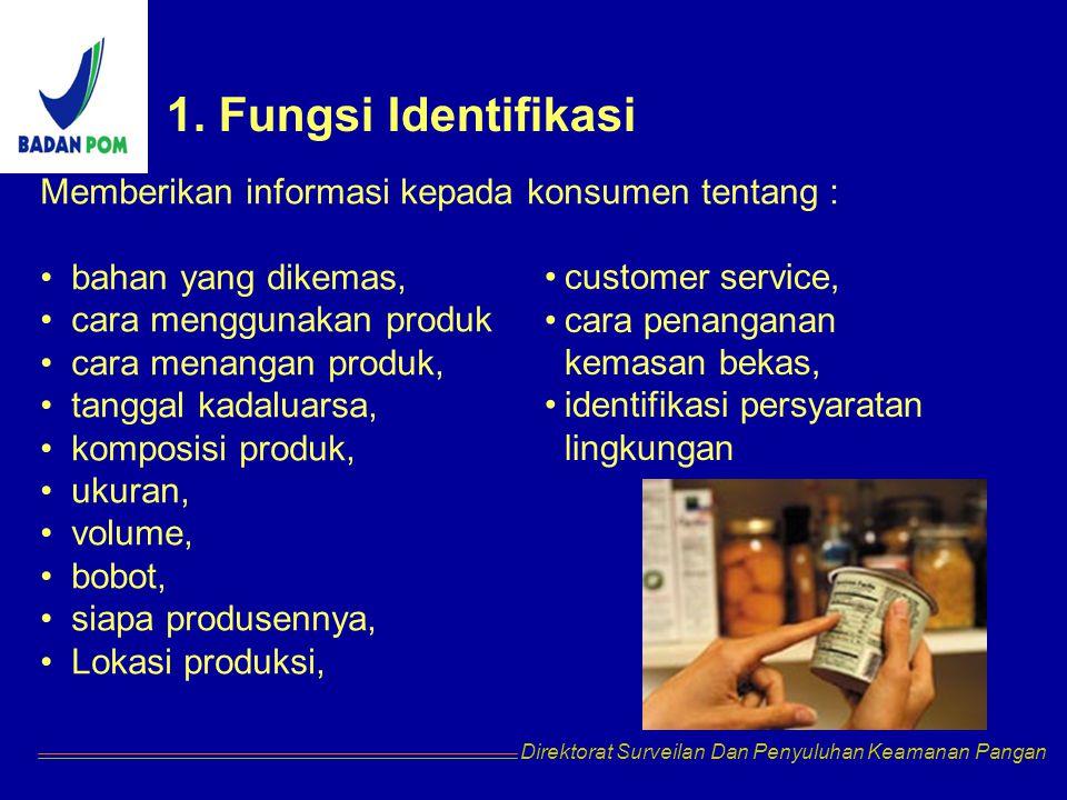 1. Fungsi Identifikasi Memberikan informasi kepada konsumen tentang :