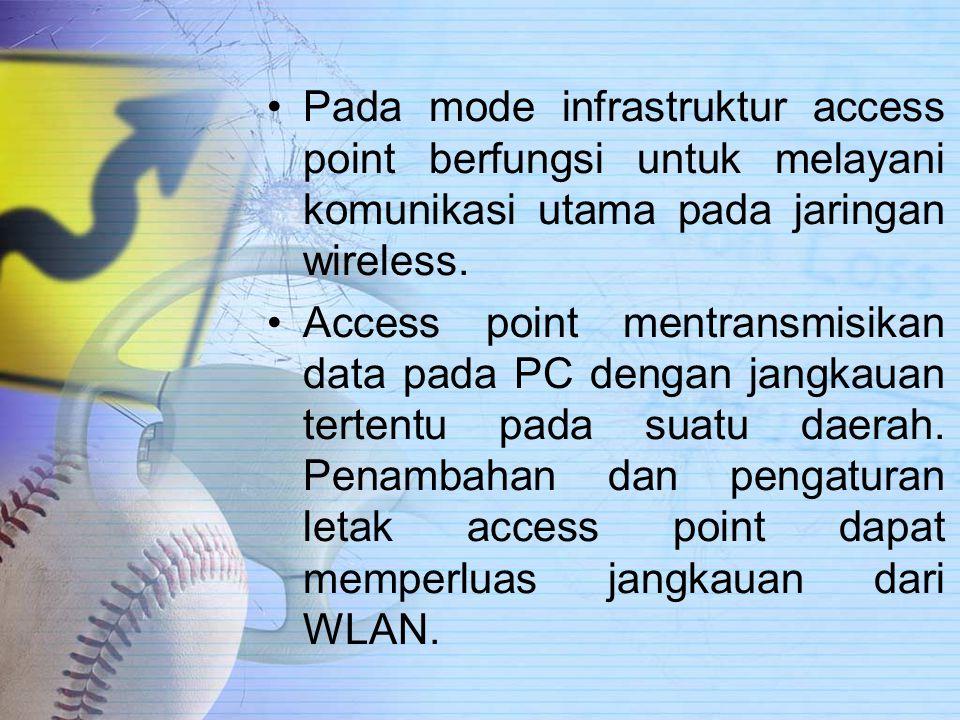 Pada mode infrastruktur access point berfungsi untuk melayani komunikasi utama pada jaringan wireless.
