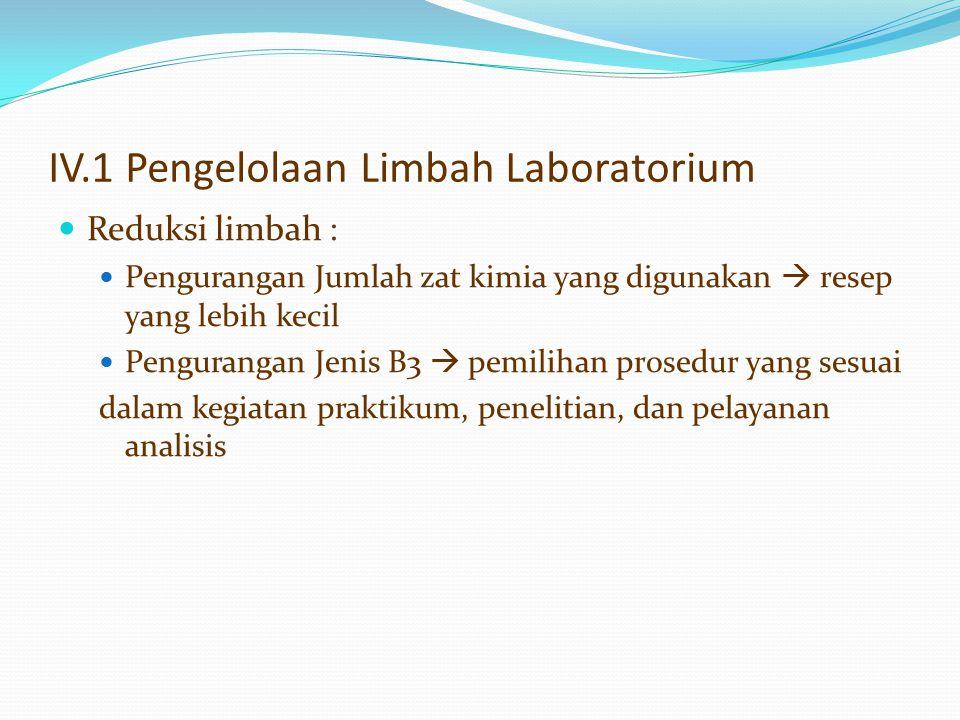 IV.1 Pengelolaan Limbah Laboratorium