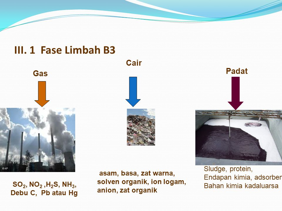 III. 1 Fase Limbah B3 Cair Padat Gas Sludge, protein,