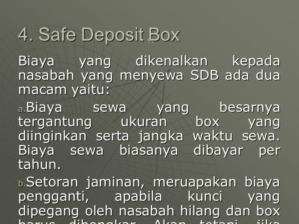 4. Safe Deposit Box Biaya yang dikenalkan kepada nasabah yang menyewa SDB ada dua macam yaitu: