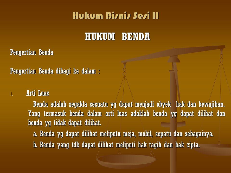 Hukum Bisnis Sesi II HUKUM BENDA Pengertian Benda