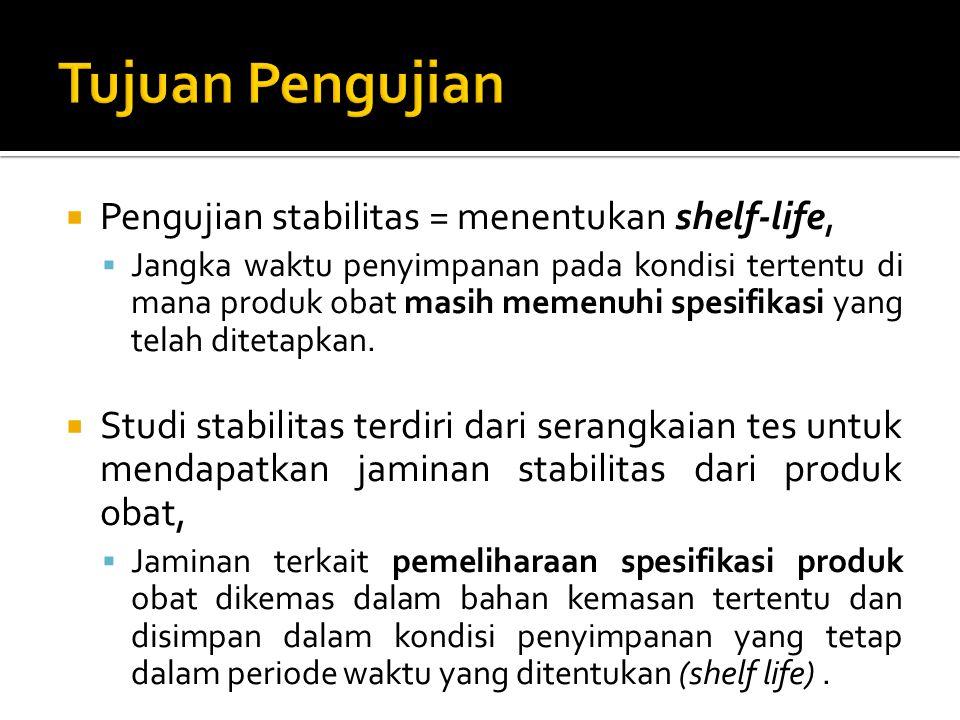 Tujuan Pengujian Pengujian stabilitas = menentukan shelf-life,