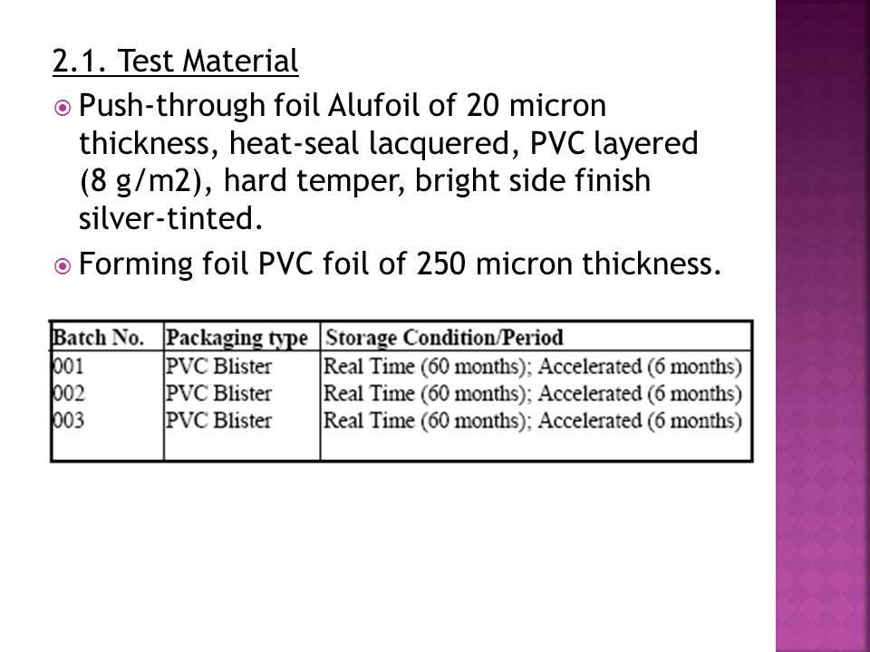 2.1. Test Material