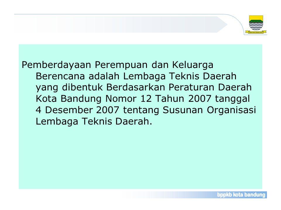 Pemberdayaan Perempuan dan Keluarga Berencana adalah Lembaga Teknis Daerah yang dibentuk Berdasarkan Peraturan Daerah Kota Bandung Nomor 12 Tahun 2007 tanggal 4 Desember 2007 tentang Susunan Organisasi Lembaga Teknis Daerah.