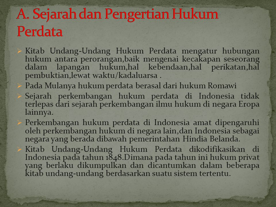 A. Sejarah dan Pengertian Hukum Perdata