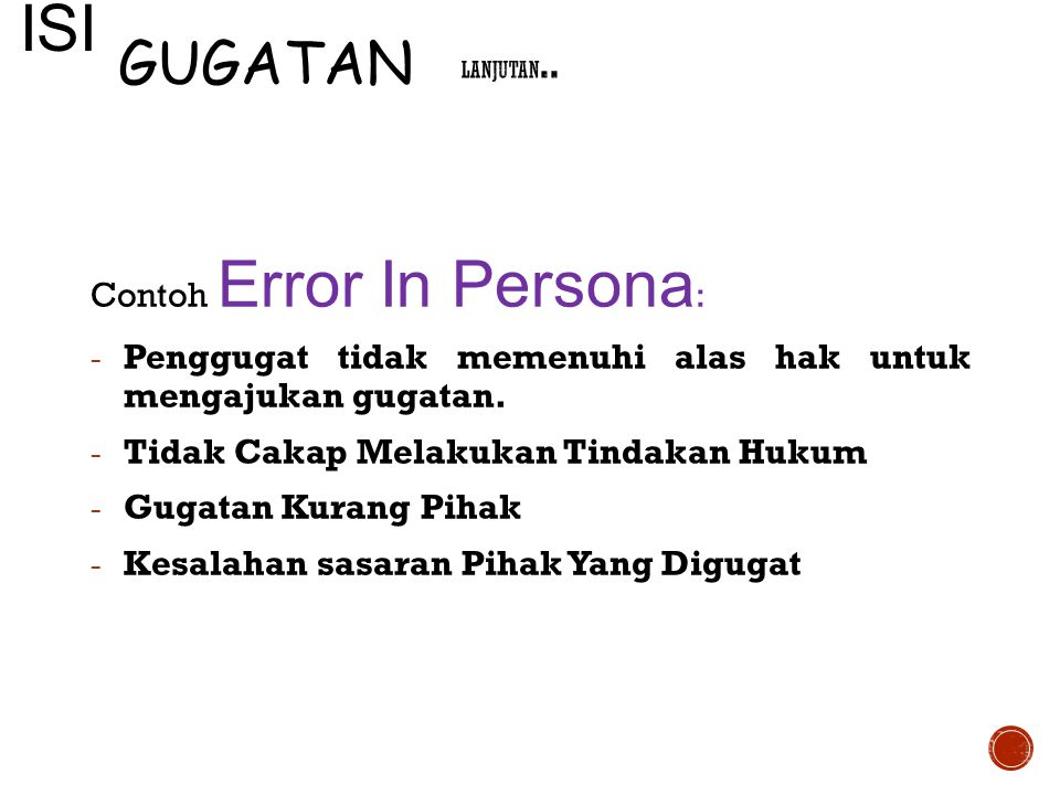 ISI GUGATAN Contoh Error In Persona:
