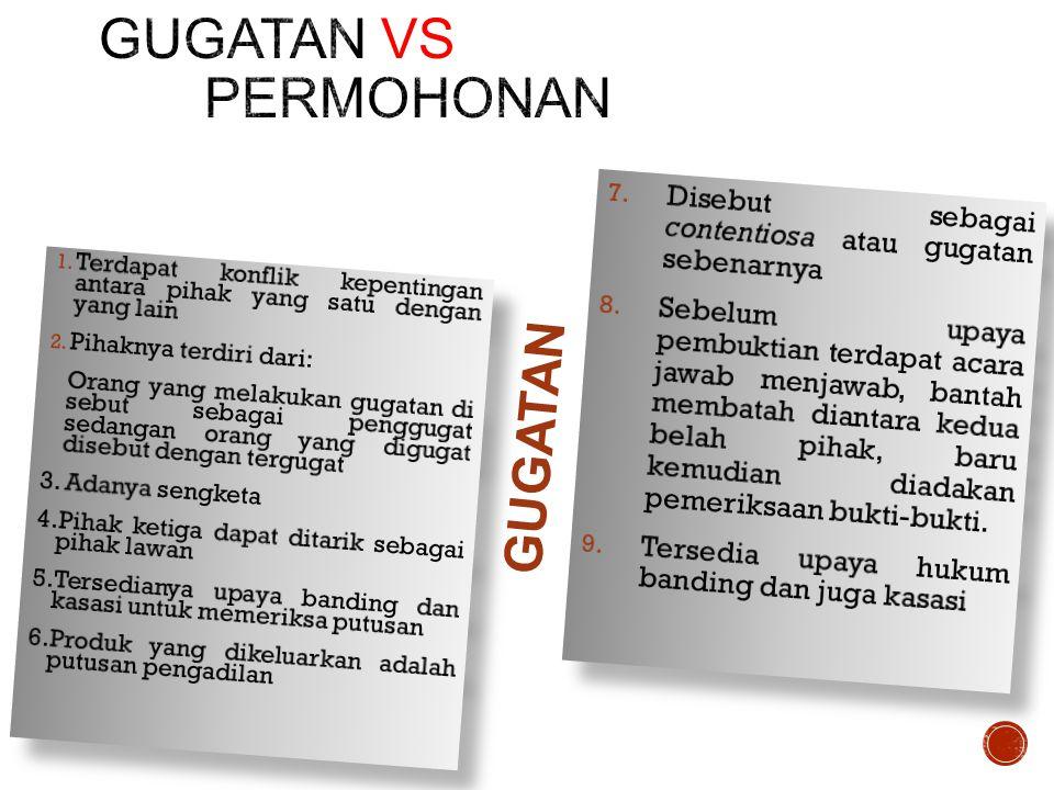 GUGATAN vs PERMOHONAN GUGATAN