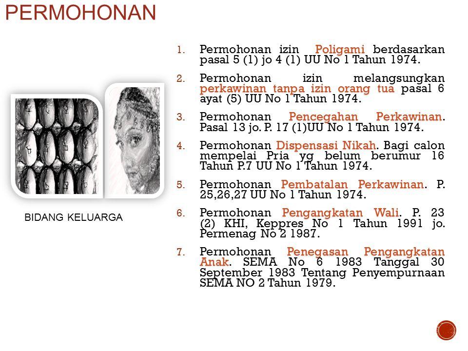 PERMOHONAN Permohonan izin Poligami berdasarkan pasal 5 (1) jo 4 (1) UU No 1 Tahun 1974.