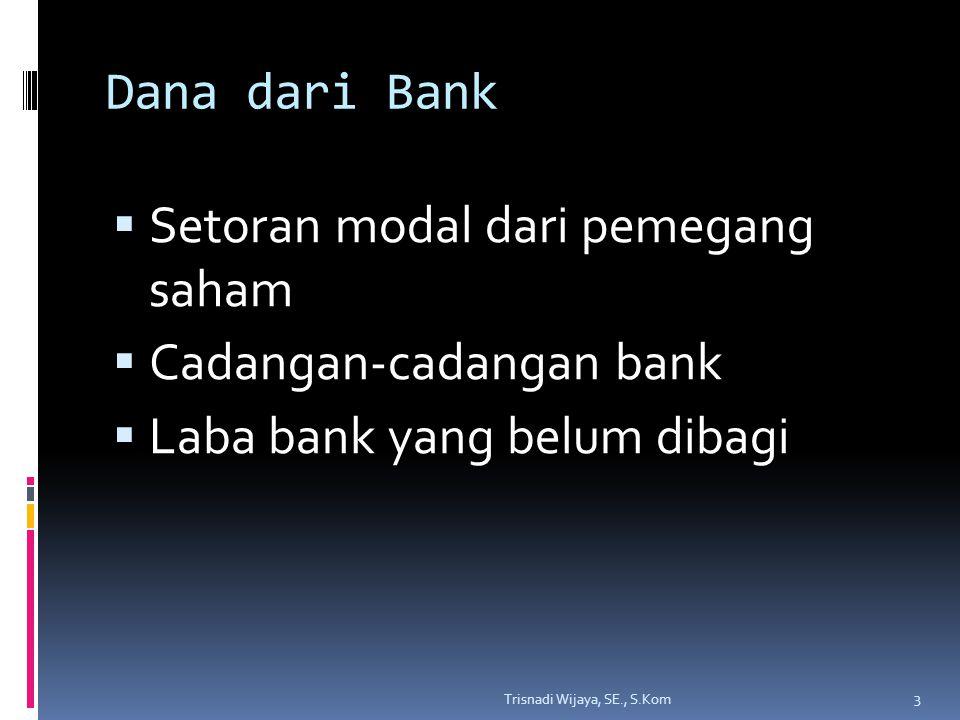 Setoran modal dari pemegang saham Cadangan-cadangan bank