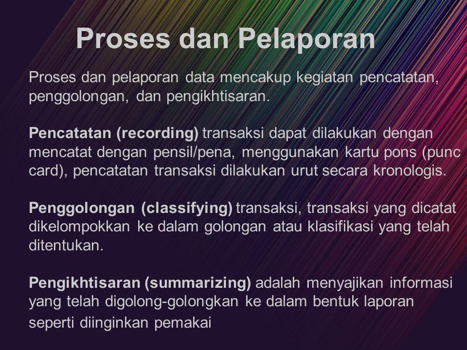 Proses dan Pelaporan Proses dan pelaporan data mencakup kegiatan pencatatan, penggolongan, dan pengikhtisaran.