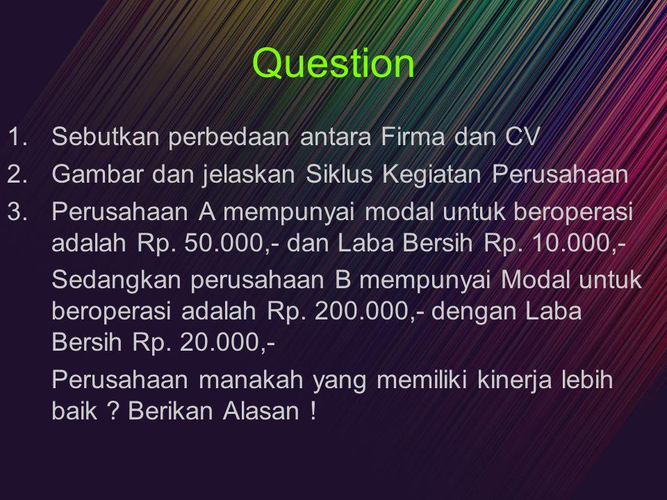 Question Sebutkan perbedaan antara Firma dan CV