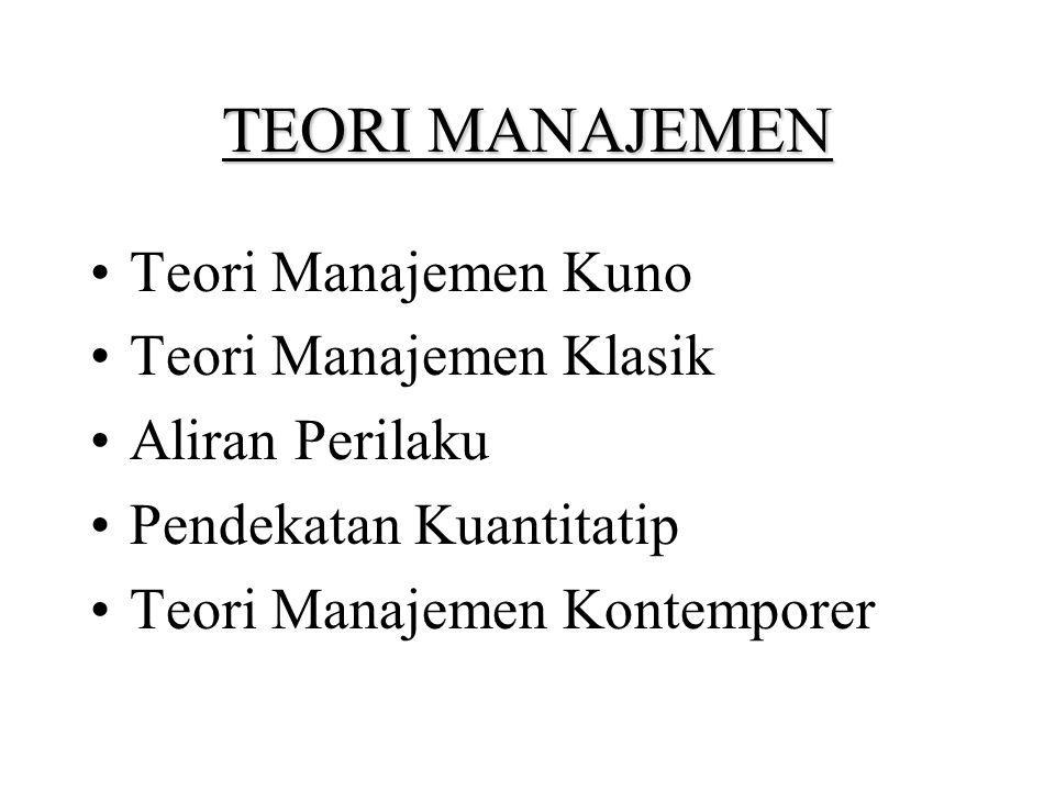 TEORI MANAJEMEN Teori Manajemen Kuno Teori Manajemen Klasik