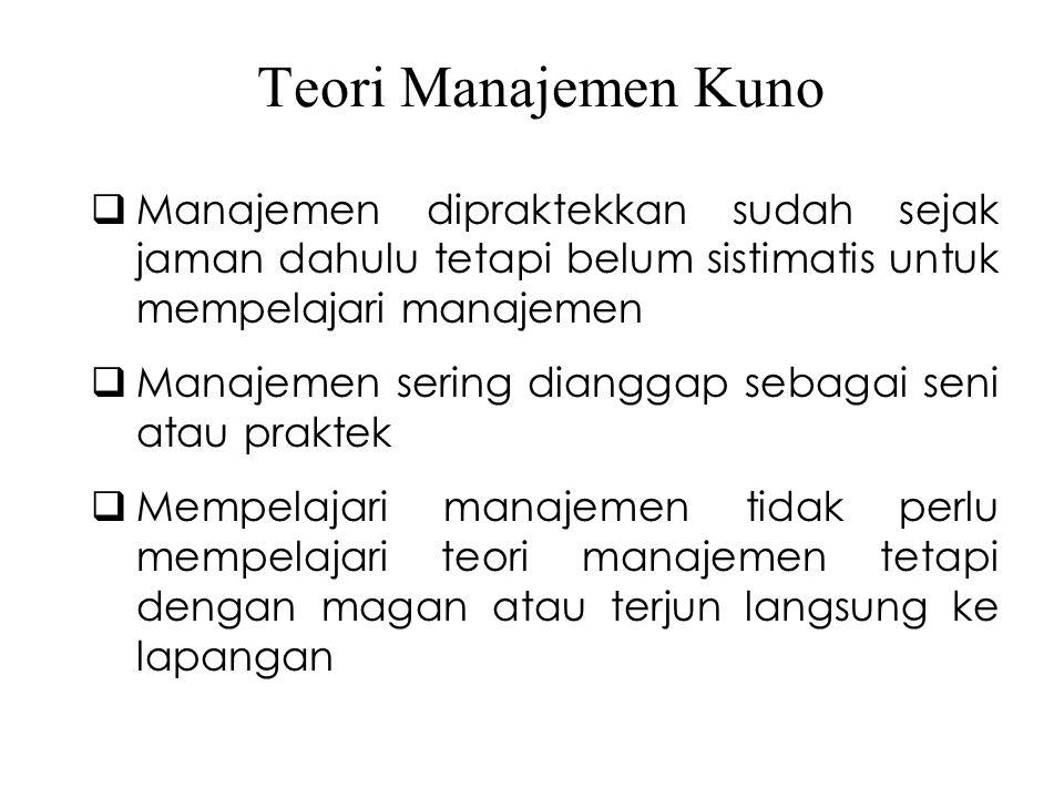 Teori Manajemen Kuno Manajemen dipraktekkan sudah sejak jaman dahulu tetapi belum sistimatis untuk mempelajari manajemen.