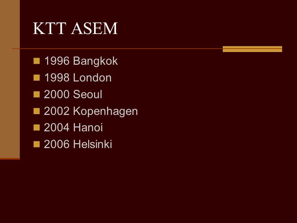 KTT ASEM 1996 Bangkok 1998 London 2000 Seoul 2002 Kopenhagen