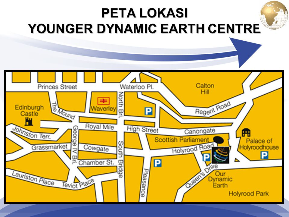 PETA LOKASI YOUNGER DYNAMIC EARTH CENTRE