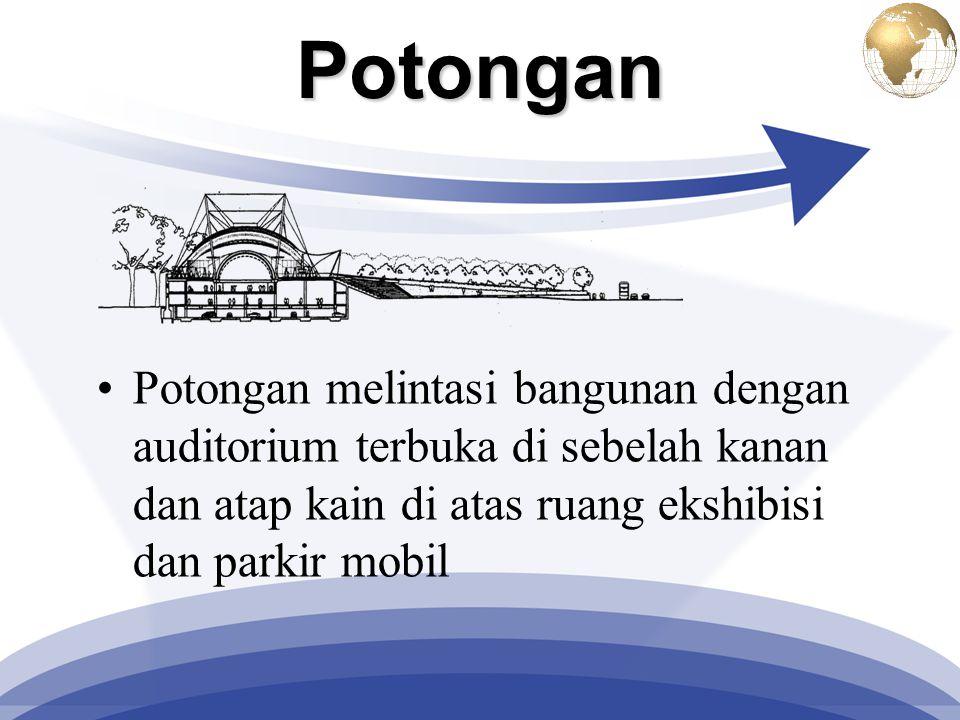 Potongan Potongan melintasi bangunan dengan auditorium terbuka di sebelah kanan dan atap kain di atas ruang ekshibisi dan parkir mobil.