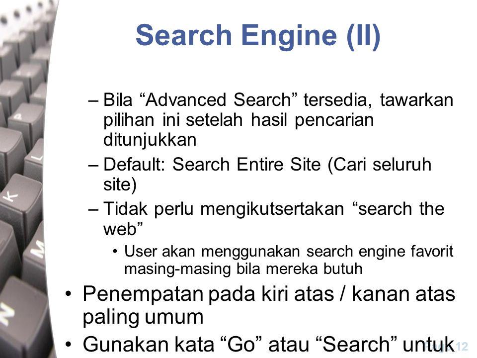 Search Engine (II) Penempatan pada kiri atas / kanan atas paling umum