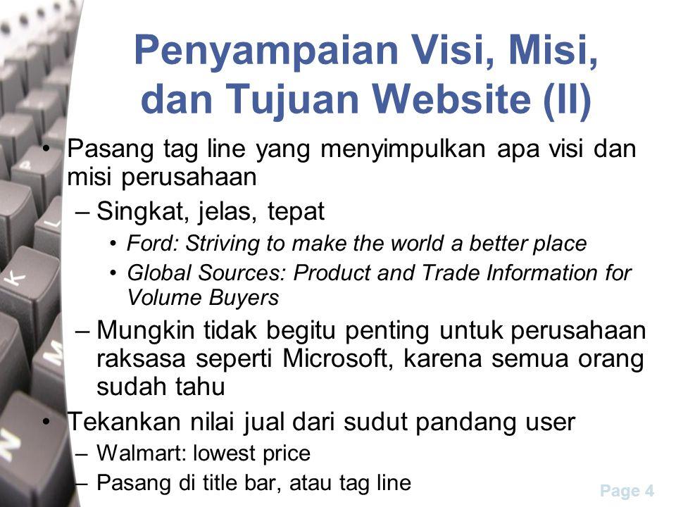 Penyampaian Visi, Misi, dan Tujuan Website (II)