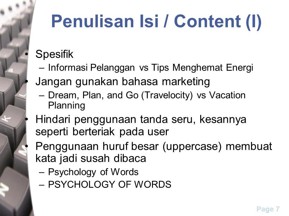 Penulisan Isi / Content (I)