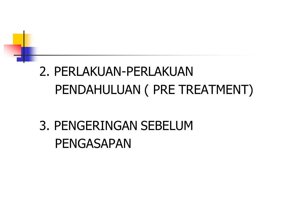 2. PERLAKUAN-PERLAKUAN PENDAHULUAN ( PRE TREATMENT) 3. PENGERINGAN SEBELUM PENGASAPAN